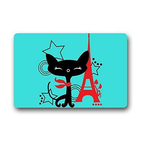 WinHome I Love Paris Eiffel Tower And Cat Art Doormat Floor Mats Rugs Outdoors/Indoor Doormat Size 23.6x15.7 inches ()