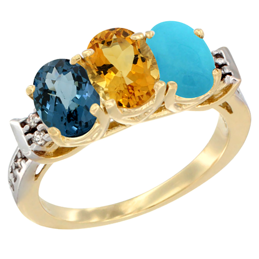 10K Yellow Gold Natural London Blue Topaz, Citrine & Turquoise Ring 3-Stone Oval 7x5 mm Diamond Accent, sizes 5 10 by WorldJewels