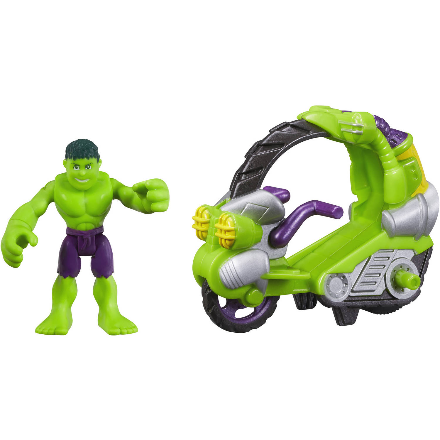 Playskool Heroes Marvel Super Hero Adventures Hulk Figure with Tread Racer Vehicle by Playskool