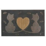 "First Impression Black & Brown Rubber Twin Heart Cat Doormat 18"" X 30"""