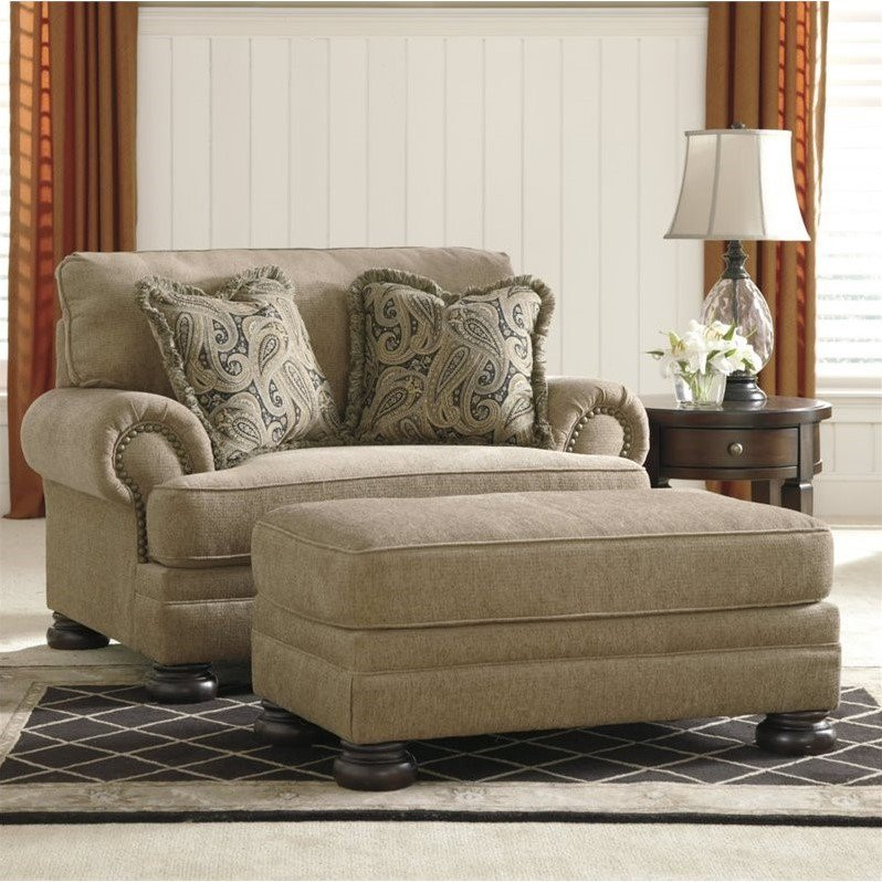 Ashley Keereel Fabric Accent Chair and a Half with Ottoman in Sand by Ashley Furniture
