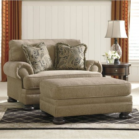 Ashley Keereel Fabric Accent Chair And A Half With Ottoman