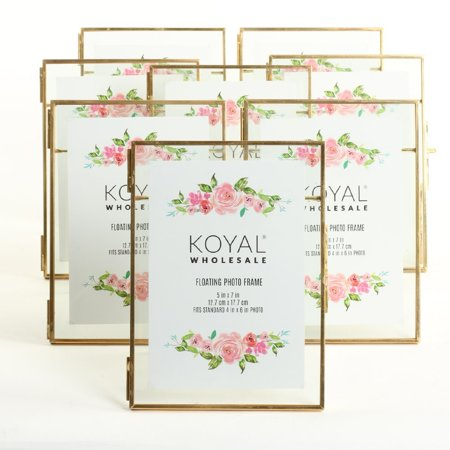 Koyal Wholesale Pressed Glass Floating Photo Frames 5 x 7 Frame, Gold 8-Pack with Stands Use Horizontal or Vertical