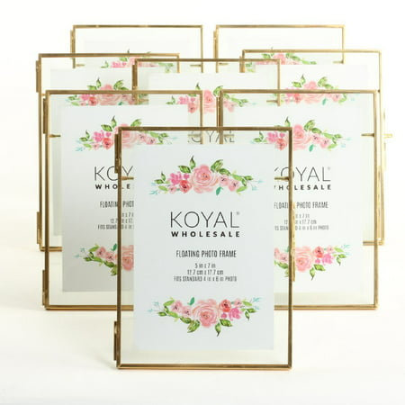Koyal Wholesale Pressed Glass Floating Photo Frames 5 x 7 Frame, Gold 8-Pack with Stands Use Horizontal or Vertical (Photo Stand Ins For Parties)