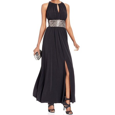 New  2821-2 R & M RICHARDS Beaded Waist Halter Gown Womens Dress 14 $119
