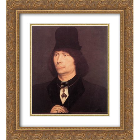 Hans Memling 2x Matted 20x24 Gold Ornate Framed Art Print 'Portrait of Anthony of Burgundy' Burgundy Gold Art Print