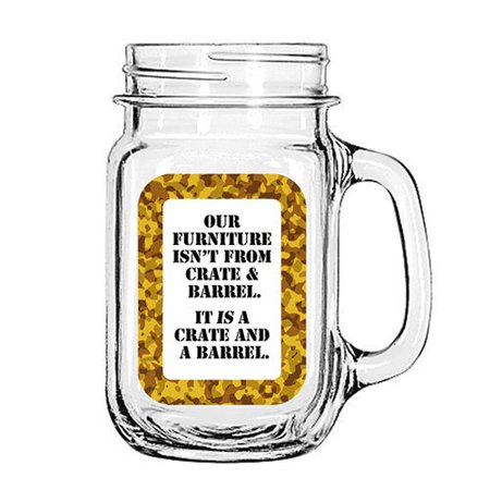 Vintage Glass Mason Jar Cup Mug Lemonade Tea Decor Painted Funny- Our Furniture isn't from Crate & Barrel.. It is a crate and A Barrel. - Crate And Barrel Halloween Mugs