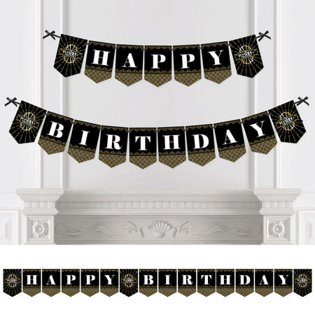 Roaring 20's - 1920s Art Deco Jazz Birthday Party Bunting Banner - Birthday Party Decorations - Happy Birthday](1920's Decoration)