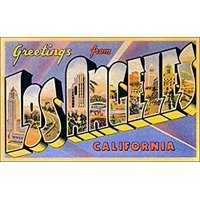 Greetings From LOS ANGELES Sticker Decal (vintage post card design) Size: 3 x 5 inch