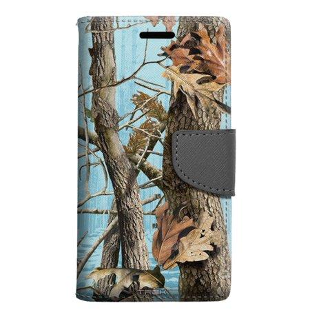 Alcatel Pop 4 Wallet Case - Camo Tree on Blue Case