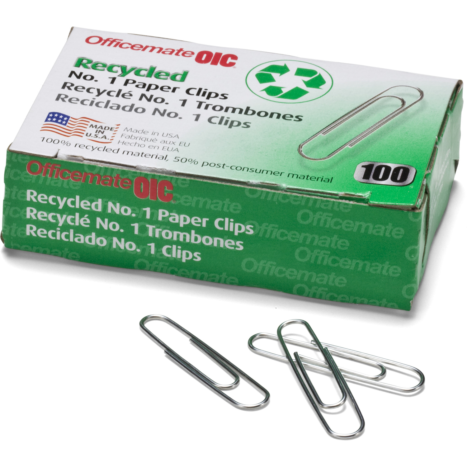 (2 Pack) Officemate Recycled No. 1 Paper Clips, Pack of 10 Boxes of 100 Clips Each (99961)