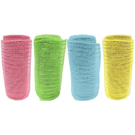 Set of 4 Decorative Mesh Rolls! 4 Assorted Easter Themed Colors! - 6