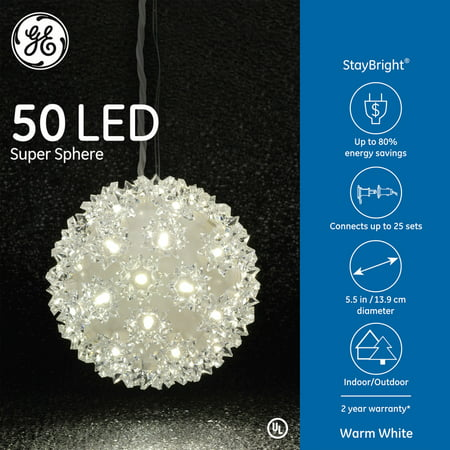 Ge 50ct Staybright Led Super Sphere Warm White Walmart Com