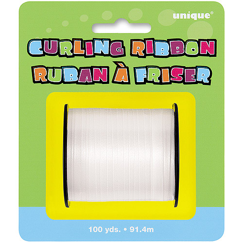 Curling Ribbon, White, 100 yd, 1ct