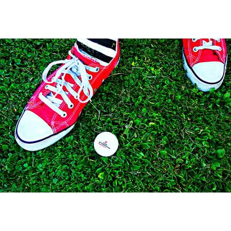 LAMINATED POSTER Foot Grass Golf Sock Standing Golf Ball Sneakers Poster Print 24 x