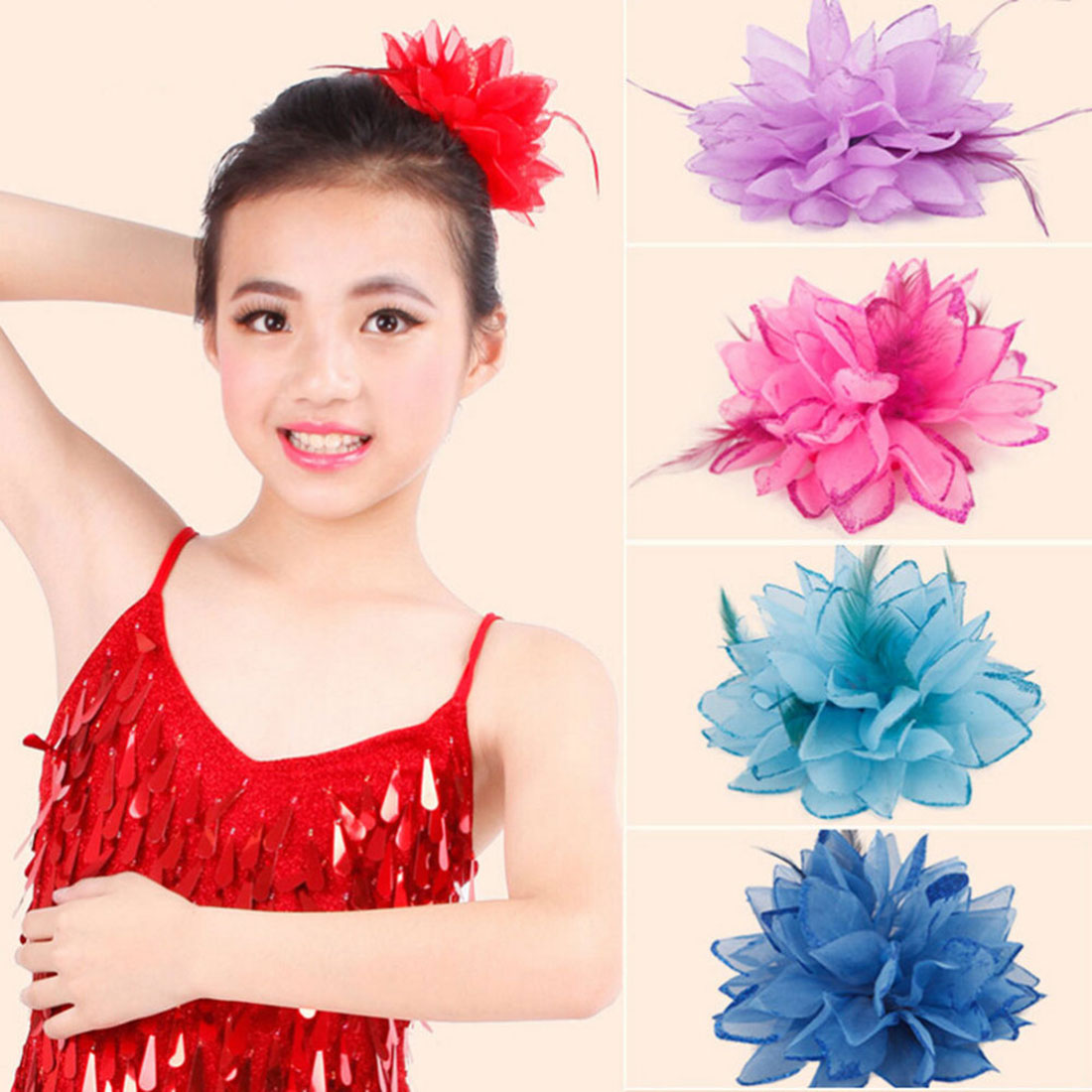 Wedding Fascinator Bridesmaid Hand Hair Decoration Wrist Flower Fuchsia 4 Pcs - image 3 of 4