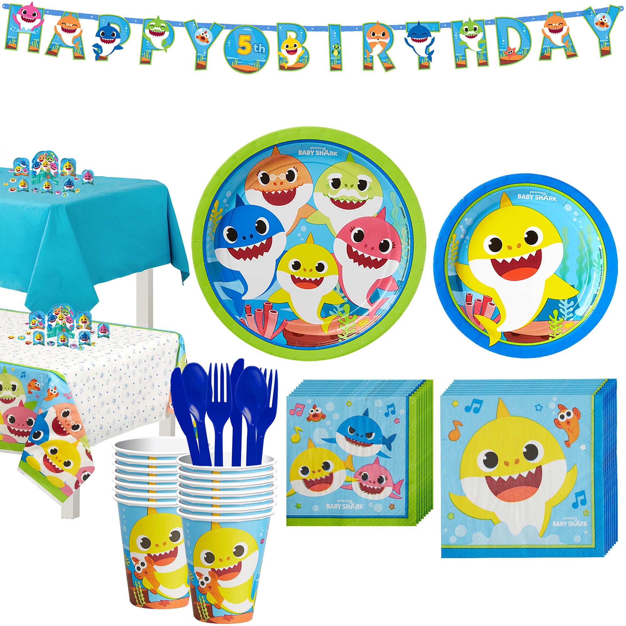 Party City Baby Shark Birthday Party Tableware Supplies ...