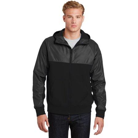 Sport-Tek® Embossed Hybrid Full-Zip Hooded Jacket. Jst50 Black/ Black Xl - image 1 de 1