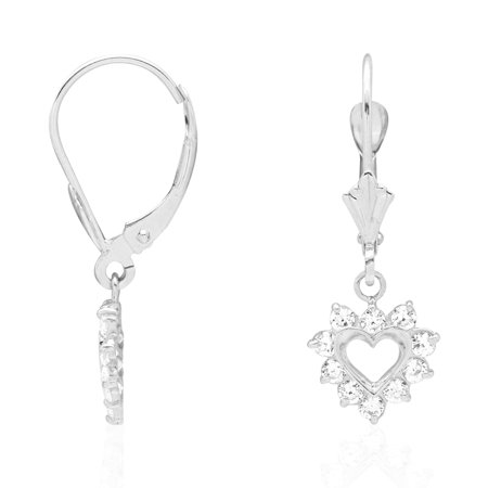 14k Yellow & White Gold Heart Ruby Dangle Drop Leverback Earrings 14k White Gold Leverback Earrings