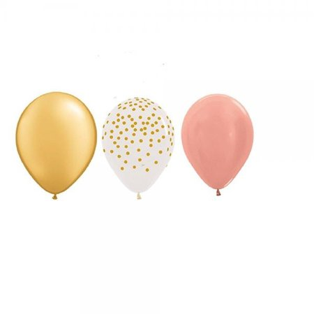 15 new 11 inch balloons party rose gold , clear with gold dots & gold wedding favors prom shower birthday