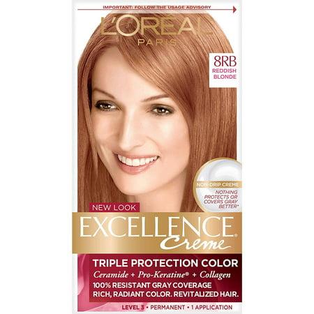 L'Oréal Paris Excellence Créme Permanent Hair Color, 8RB Medium Reddish Blonde (1 Kit) 100% Gray Coverage Hair Dye, GRAY COVERAGE HAIR COLOR WITH TRIPLE PROTECTION:.., By LOreal (Loreal Hair Color On Sale This Week)
