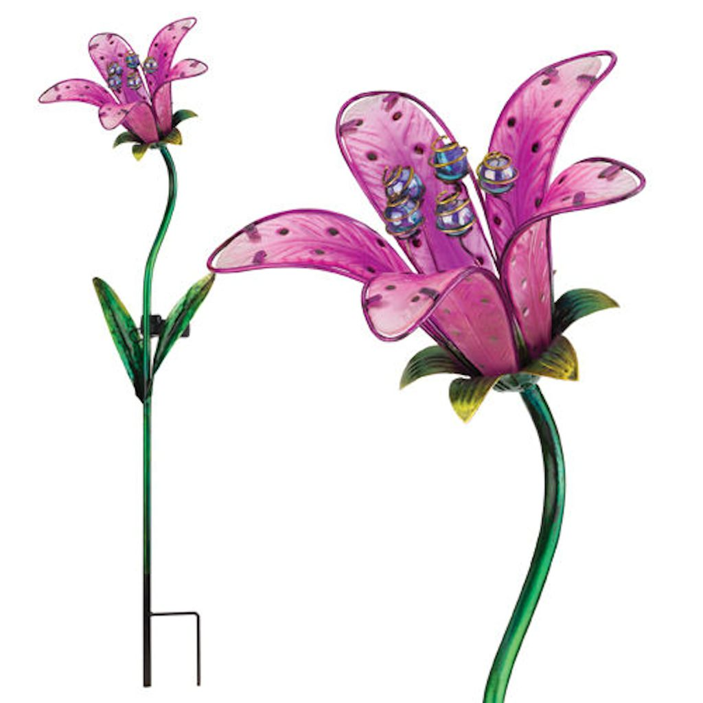 "Regal Art  and  Gift 10836 - 33"" x 9"" Pink Tiger Lily Garden Stake Solar LED Light"