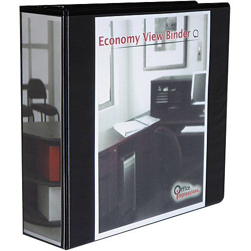 """Office Impressions Economy D-Ring View Binder, 3"""" Capacity, Black"""