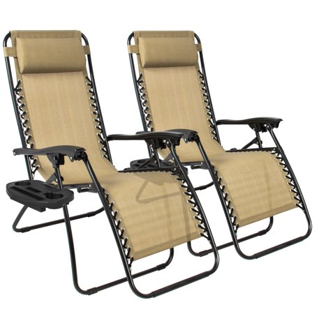 Zero Gravity Chairs Case Of 2 Tan Lounge Patio Chairs