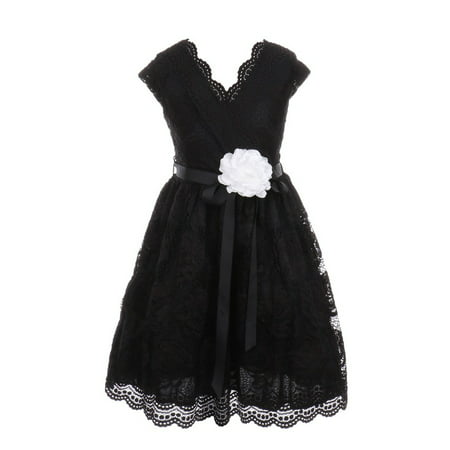 Little Girls Black Flower Border Stretch Lace Special Occasion Dress - Black Girl Dresses