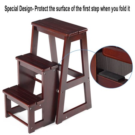 Costway Wood Step Stool Folding 3 Tier Ladder Chair Bench Seat Utility - image 3 of 10