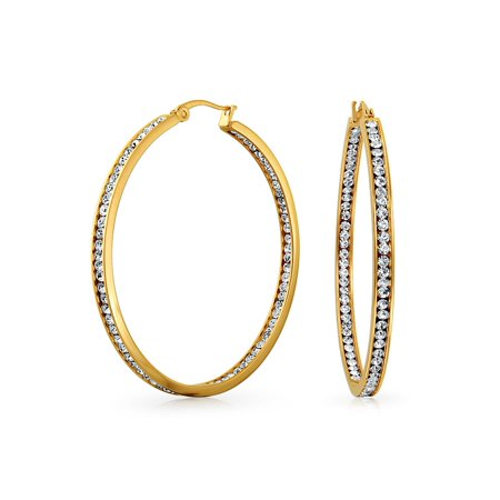 Round Channel Set CZ Inside Out Large Hoop Earrings For Women 14K Gold Plated Stainless Steel 2 In Dia