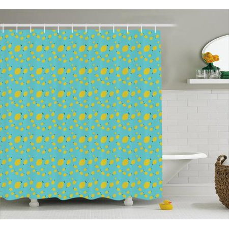 Lemons Shower Curtain Minimalistic Design Of Multisize Tiny Lemon Figures Continuous Pattern Fabric Bathroom Set With Hooks 69W X 84L Inches Extra Long