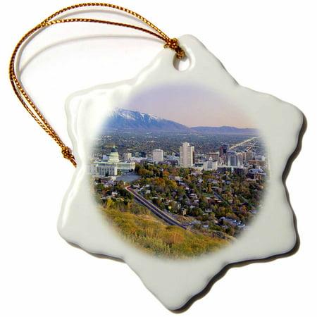 3dRose Salt Lake City and Valley, Wasatch Mountains, Utah - US45 SSM0147 - Scott T. Smith, Snowflake Ornament, Porcelain,