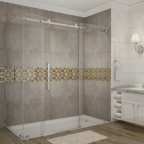 Aston Moselle 72'' x 75'' Single Sliding Frameless Shower Door