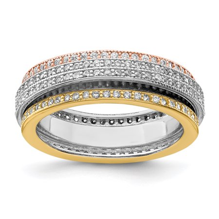 - 925 Sterling Silver Tri Color Yellow White Gold Eternity Motion Band Ring Size 6.00 For Women