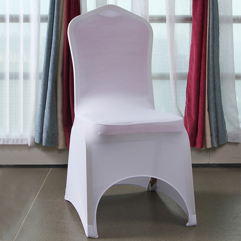 Ktaxon 50pcs Arched Front Chair Covers Spandex Lycra Chair Cover Wedding Party Decoration White