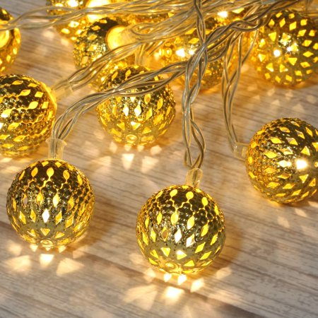 Betus 10Ft 20 LED Moroccan Globe LED Fairy String Lights - Battery Powered Party Hanging Waterproof Lights Decor for Christmas, Garden, Porch, Patio, Indoor & Wedding (Warm White) ()