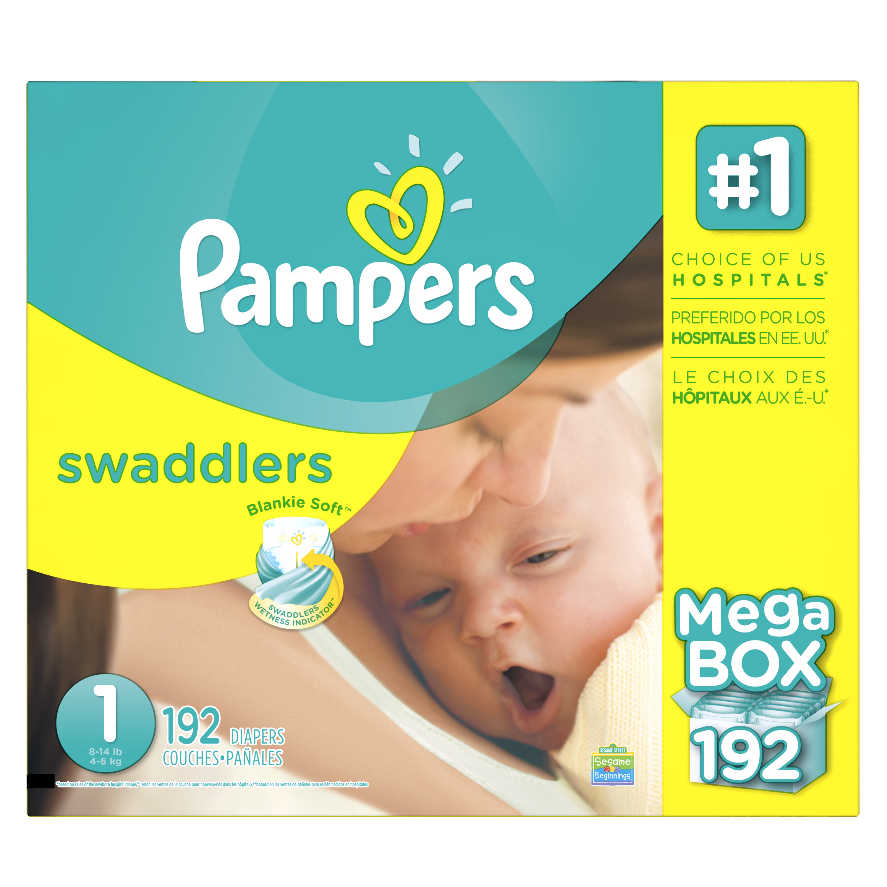 Product of 'Pampers' Swaddlers Size 1 Diapers; 192 ct. - Bulk Qty, Free Shipping - Comfortable, Soft, No Leaking & Good nite Diapers