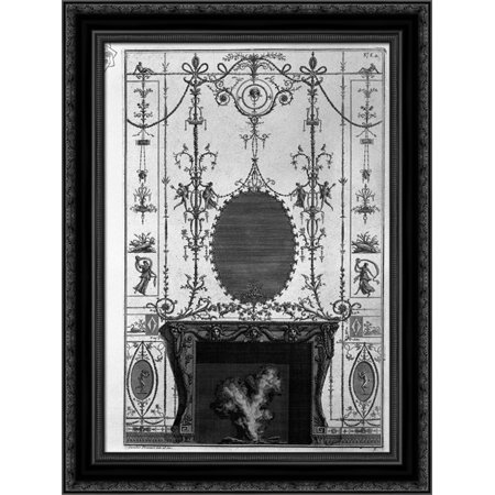 Fireplace: in the frieze of Medusa heads 3 horns of plenty joined by the sides of Aries heads 20x24 Black Ornate Wood Framed Canvas Art by Piranesi, Giovanni Battista