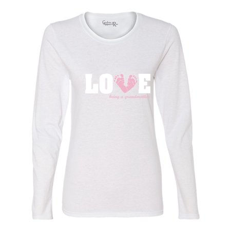 Feet Long Sleeve - Love Being a Grandmother Baby Pink Feet Womens Graphic Tees Long Sleeve Tee