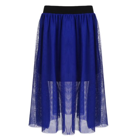 d4508f79fe27f 2018 The Newest Elecmall Women Elastic Waist Mesh Ballet Layered Mesh Tulle  Midi Skirt Plus Size Elec - Walmart.com