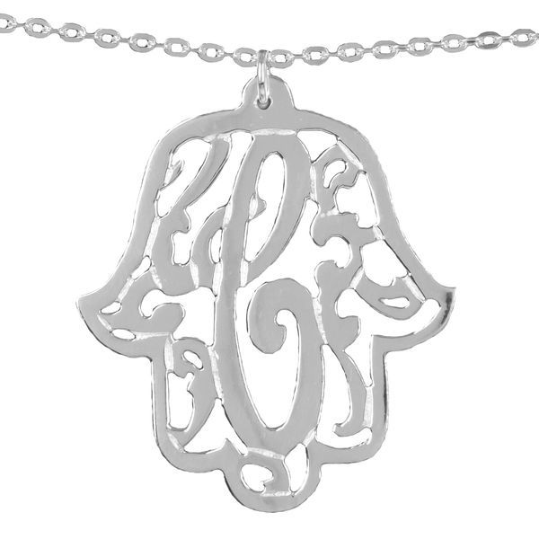 Floral Personalized Monogram Necklace in Sterling Silver or 24K Gold Plated Sterling Silver