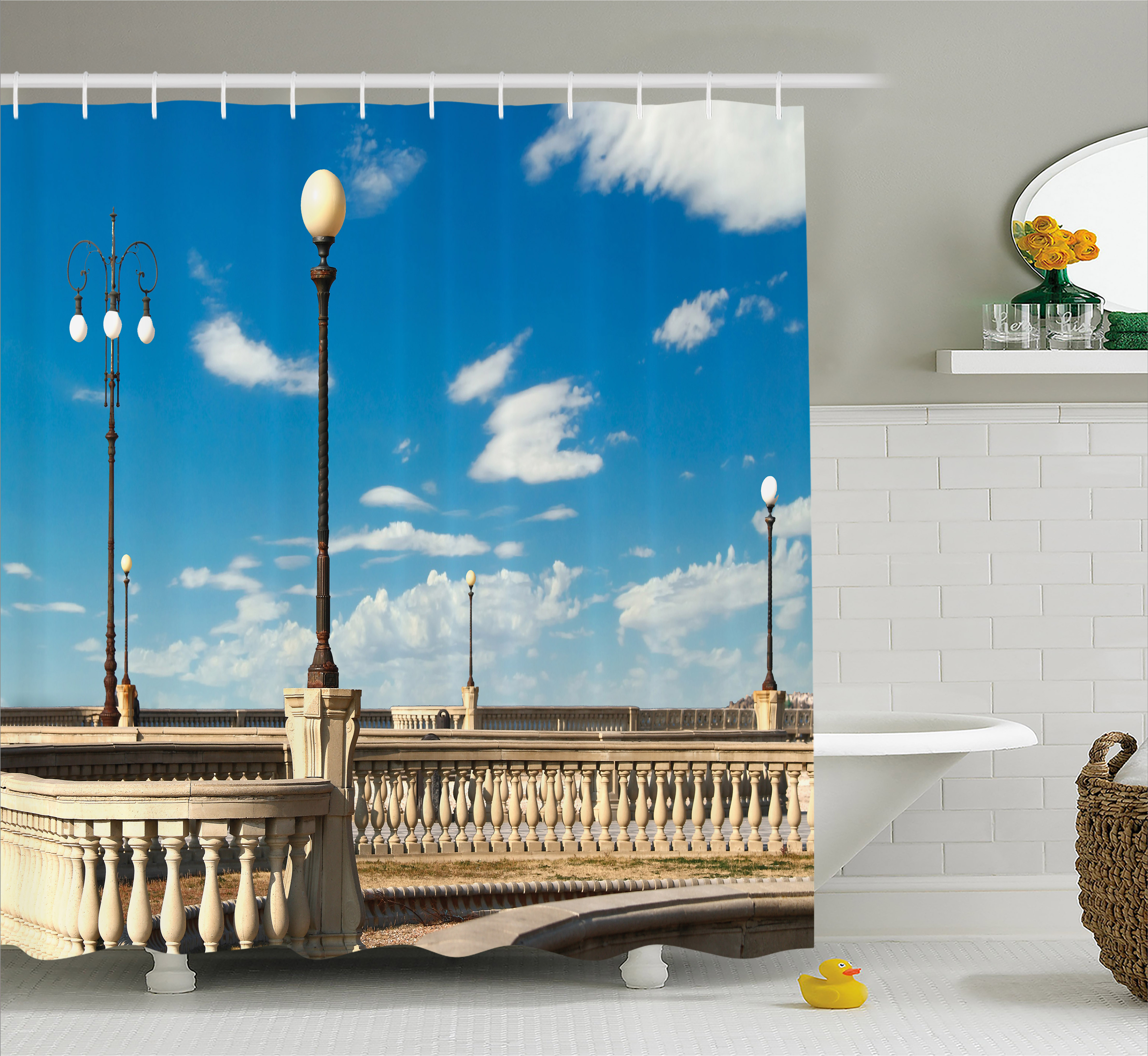 Italian Shower Curtain Mascagni Terrace Street Promenade Of Livorno Tuscany Artwork Print Fabric Bathroom Set With Hooks 69W X 75L Inches Long