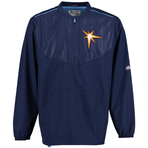Tampa Bay Rays Majestic On Field Cool Base Training Half-Zip Jacket Navy by MAJESTIC LSG