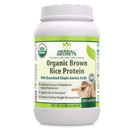 Herbal Secrets Organic Brown Rice Protein (Unflavored) - 3 Lbs