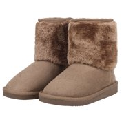 Kids Girls Snow Boots Sherpa Lined Faux Suede Velcro Winter Boots Camel 2