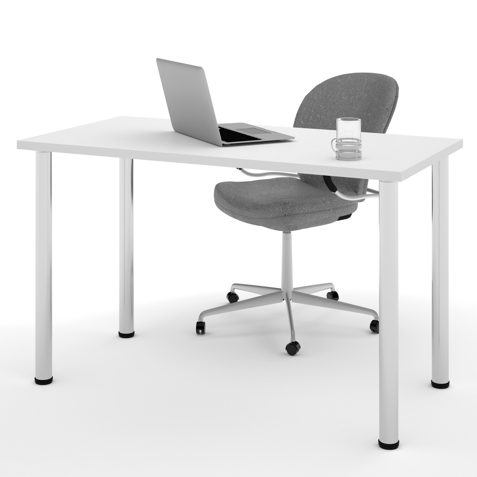 """Bestar 24"""" x 48"""" Table with round metal legs in White"""