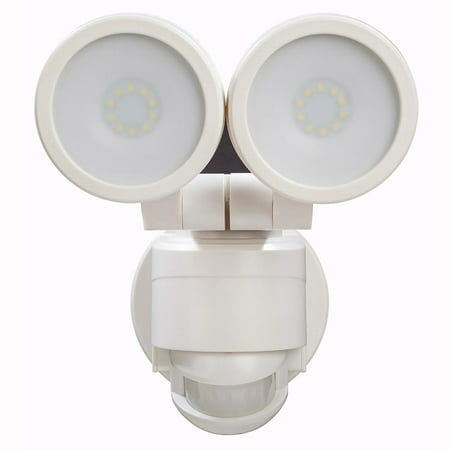 Defiant 180 Degree White Motion Activated Outdoor Integrated LED Twin Head Flood Light