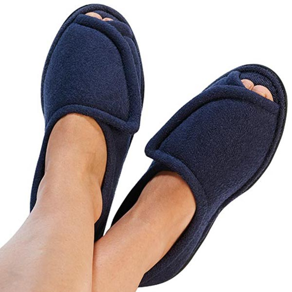 Women's Navy Blue Comfort Terry Cloth Rubber Sole Slippers