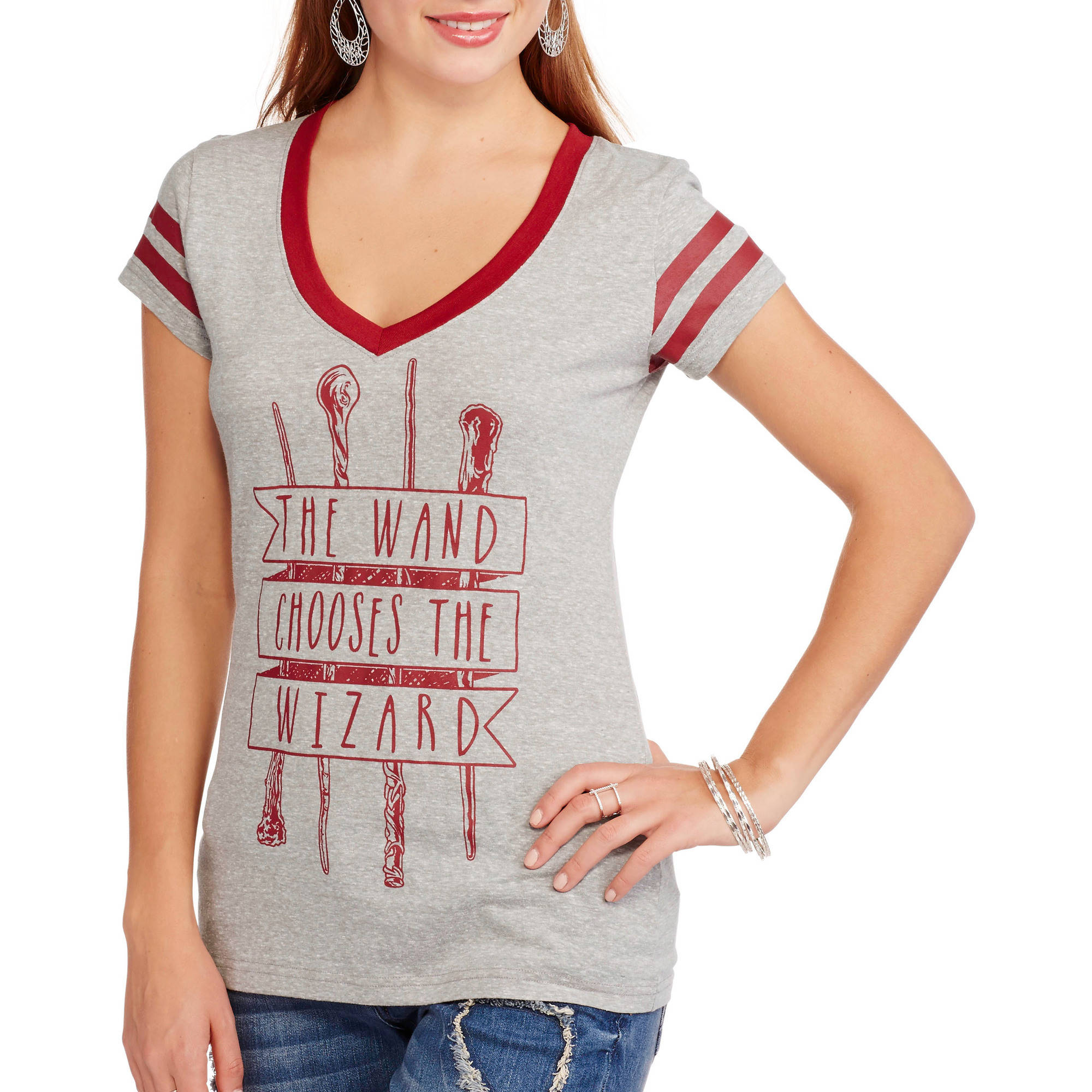 "Harry Potter Juniors' ""The Wand Chooses the Wearer"" Graphic V-Neck Tee"